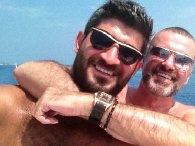 Australian hairdresser Fadi Fawaz and boyfriend George Michael. Picture: Twitter