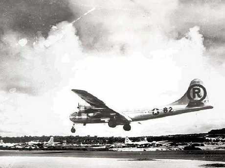 The Enola Gay lands after bombing Hiroshima.