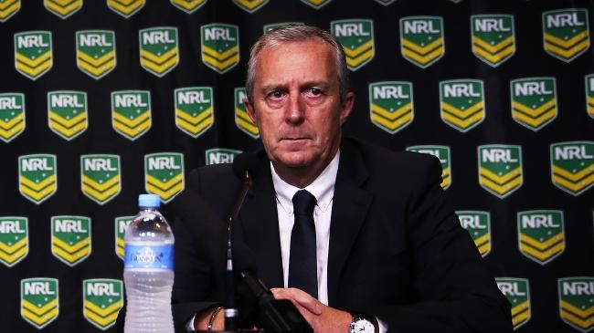 NRL CEO, Dave Smith and Chief Operating Officer, Jim Doyle announce their findings into Cronulla coach Shane Flanagan and former Head of Strength and Conditioning Trent Elkin that risked player health and welfare. pic. Phil Hillyard