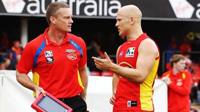 Inaugural Gold Coast coach Guy McKenna and captain Gary Ablett.