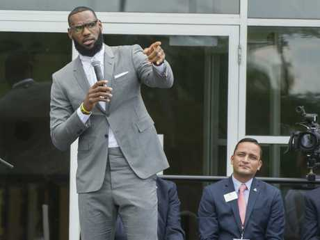 LeBron James speaks at the opening ceremony for the I Promise School in Akron, Ohio.