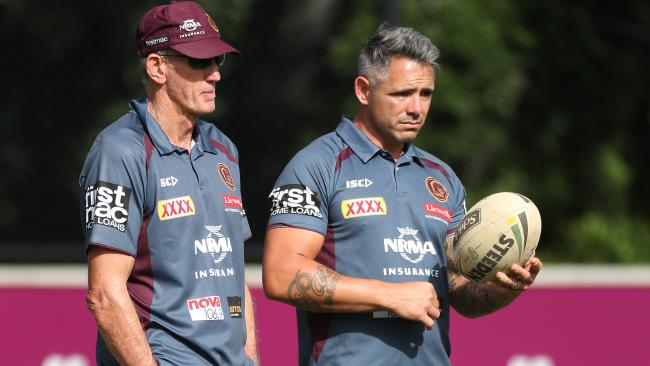 Wayne Bennett and Corey Parker during a Broncos training session earlier this year. Picture: Peter Wallis