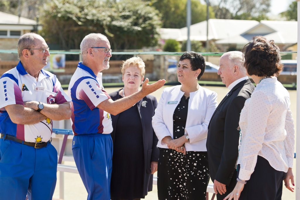 Discussing the sale are (from left) West Toowoomba Bowls Club treasurer Ken Galloway, chairman Denis Hathaway, St Ursula's College past principal Ann Marie Pawsey, principal Tanya Appleby, Catholic Bishop of Toowoomba Robert McGuckin and college board chairwoman Angela Travers as the college buys the club, Monday, August 6, 2018.
