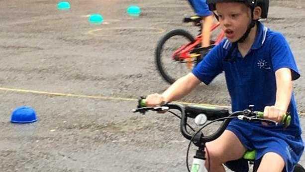 BIKING BALANCE: These Sunshine Beach school kids learn the skills of safe cycling from Bike On.