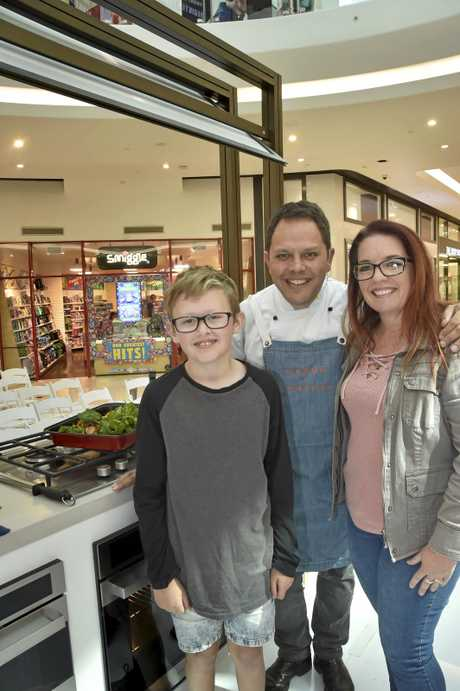 Kevin ODonohoe (left) Chef, Alastair McLeod and Michelle Casius-Smith at the demonstration at Grand Central. August 2018