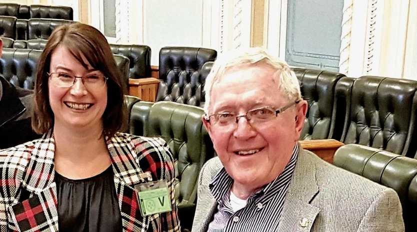 MOVING FORWARD: Granite Belt Community Association's Amanda Harrold and Reverend Alan Colyer at Queensland Parliament where they met with representatives from Local Government Minister Stirling Hinchliffe's office.