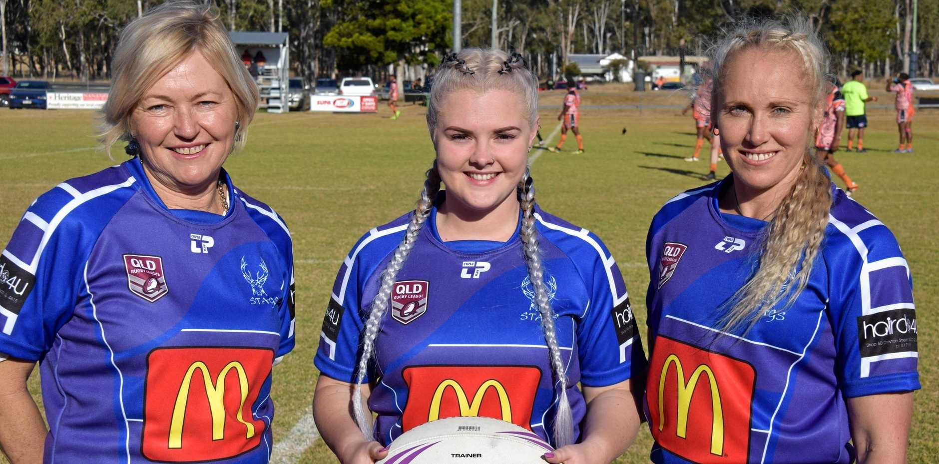 WOMEN IN LEAGUE: Andrea Steele, Ebony Smith and Joanne Alexander are acknowledged for their contribution to rugby league.