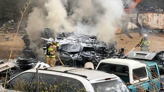 Firefighters tackled a burning vehicle at the wrecking yard on the Monkland.