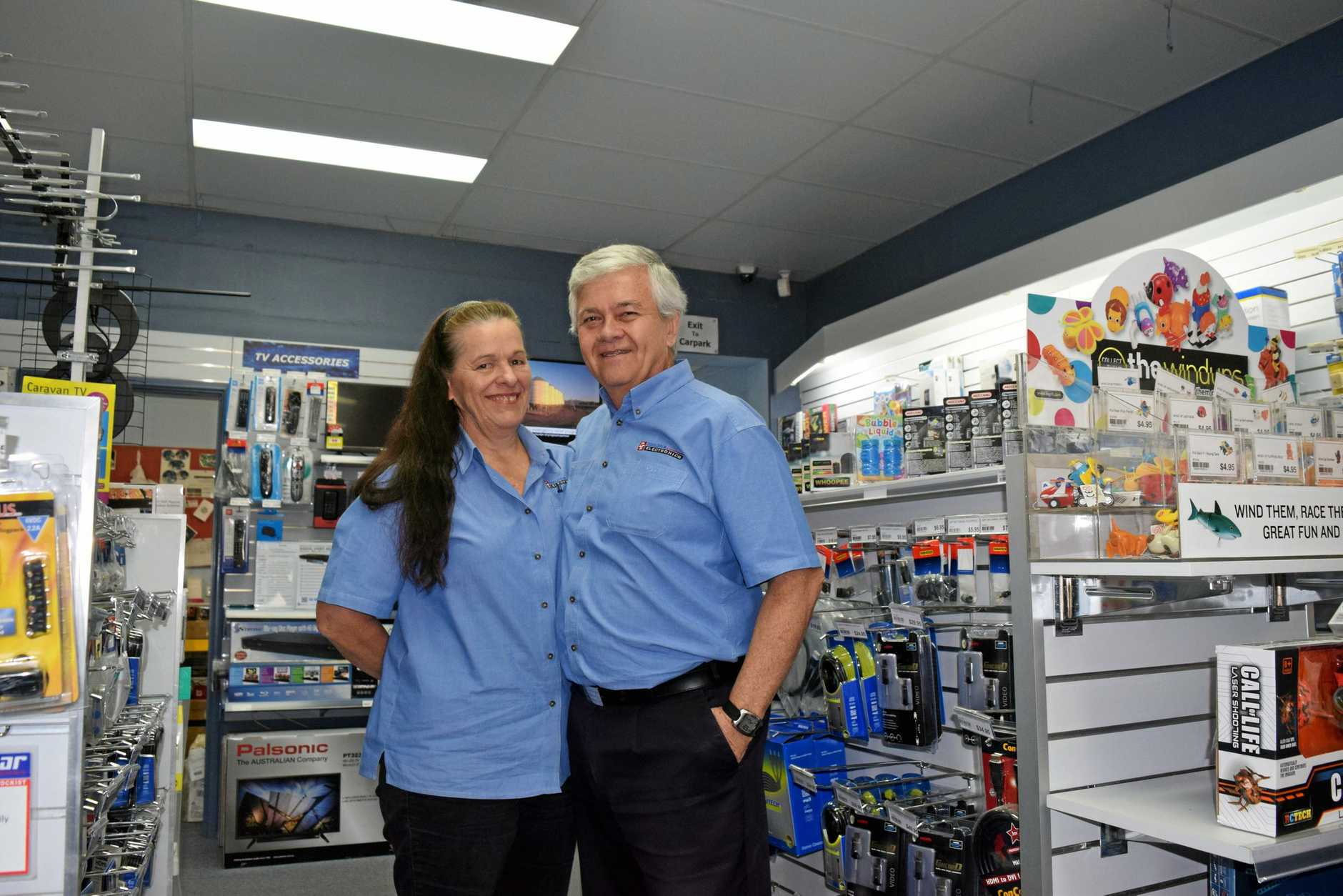 Cindy and Paul Medway close Cooloola Electronics after more than 24 years in Gympie.