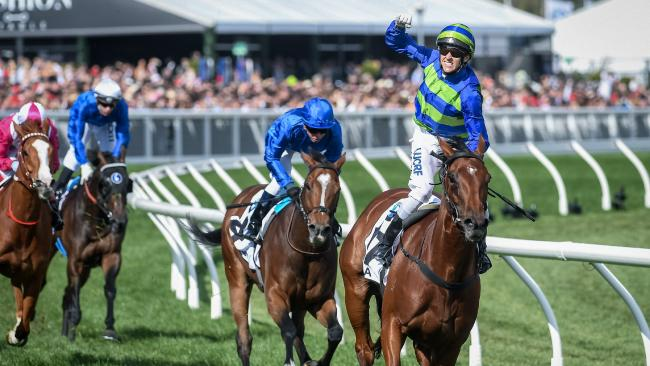Nicholas Hall celebrates Jameka's victory in the Caulfield Cup in 2016. Picture: Jake Nowakowski