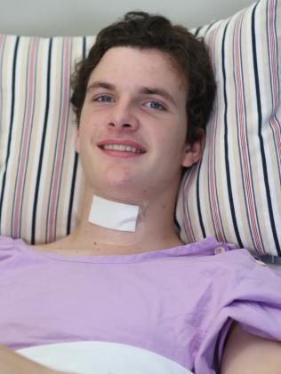 Conor Tweedy in hospital . Picnture: Annette Dew