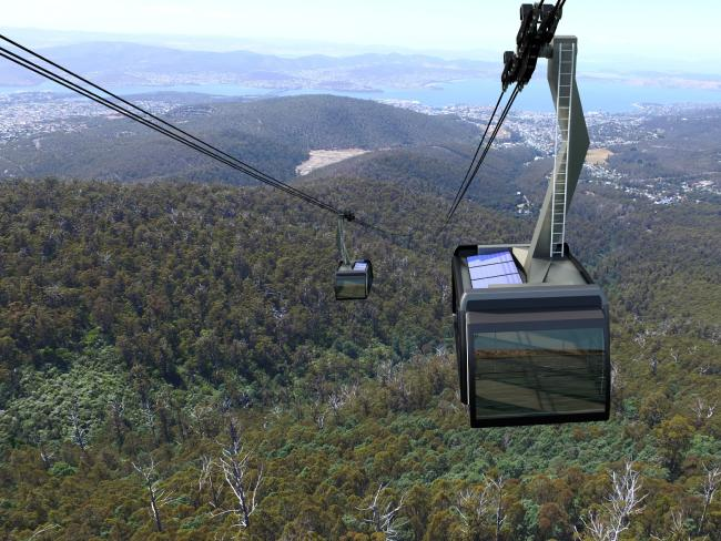Artist's impression of the cable car development proposed for Tasmania's Mt Wellington
