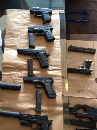 Police seized imitation pistols and weapons from a unit in Waverley. Picture: Police Media