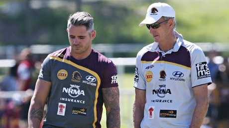 Corey Parker and Wayne Bennett at Broncos training in April. Photo: Annette Dew