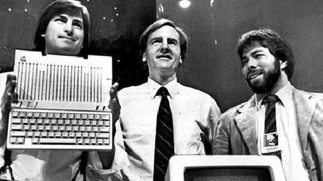 From left, Steve Jobs, Ron Wayne and Steve Wozniak — Wayne famously sold his 10 per cent stake in Apple for just $800 in the '70s.