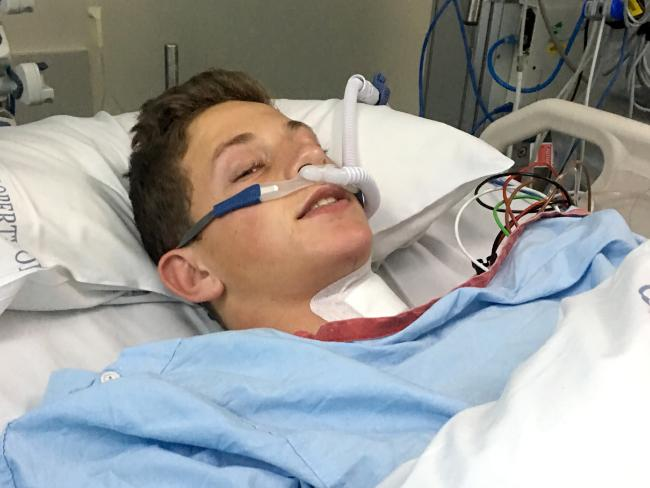 Ollie Bierhoff after his first operation. Picture: AAP Image/Steve Pohlner
