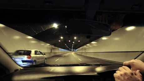 Driving through the Airportlink tunnel at Bowen Hills.