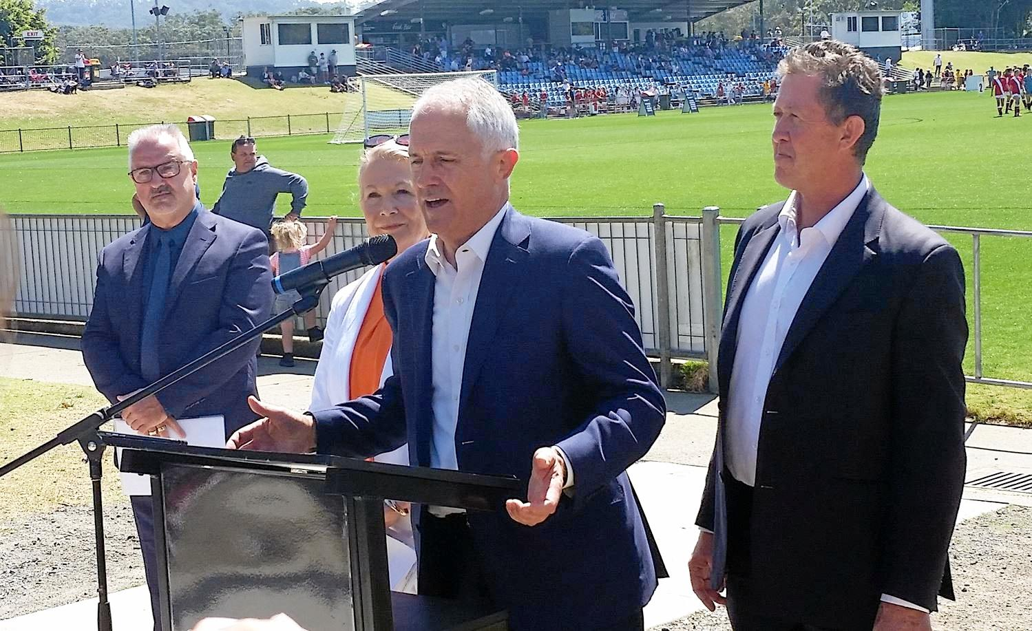 Mr Hartsuyker with Malcolm Turnbull at the funding announcement for the $13 million upgrade to C.ex Coffs Stadium. Mr Hartsuyker said he has informed the Prime Minister of his decision to leave politics.