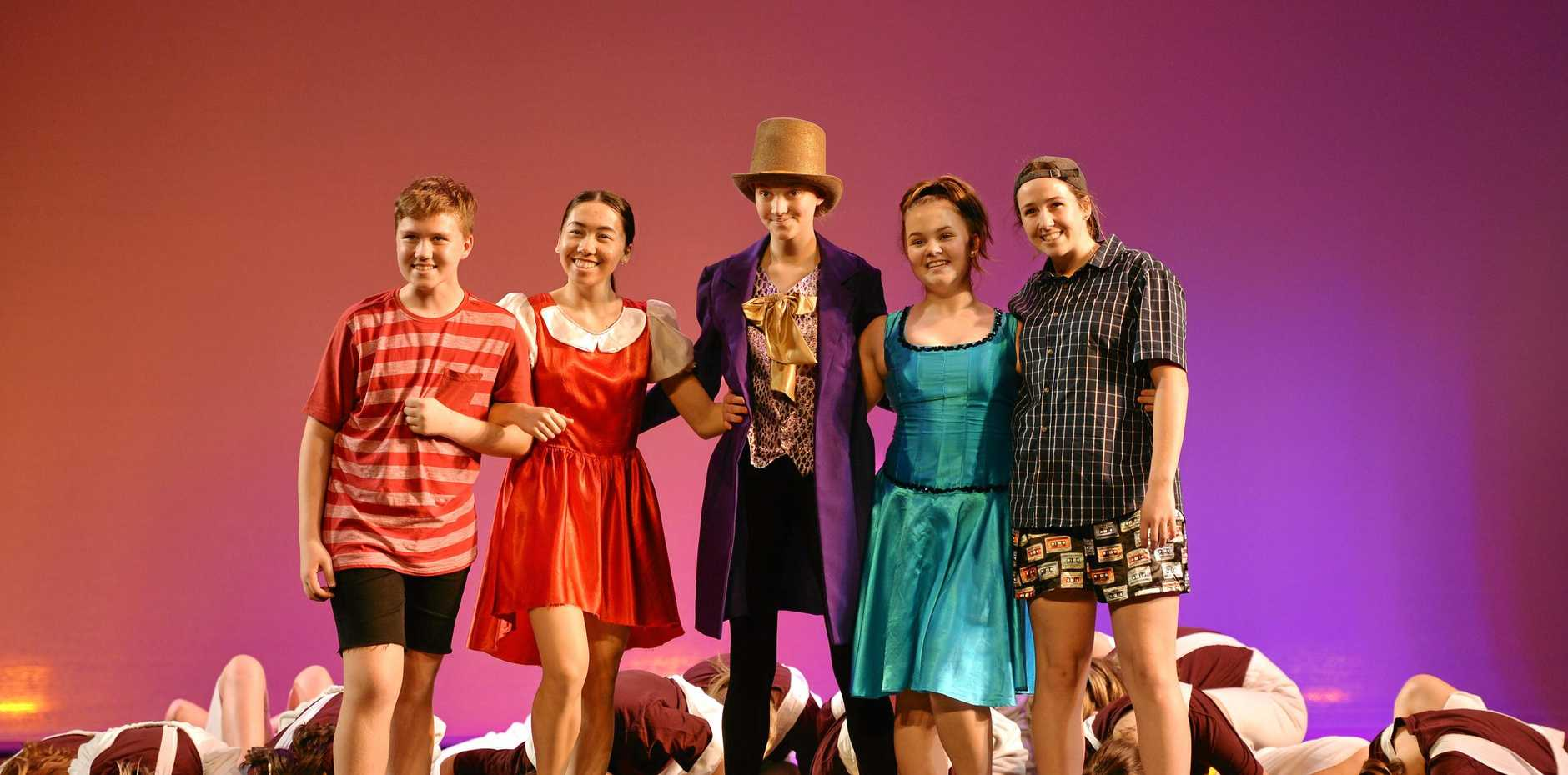 ON STAGE: Holy Spirit College students' rehearsal of 'Charlie' in the Wakakirri performance at the MECC.