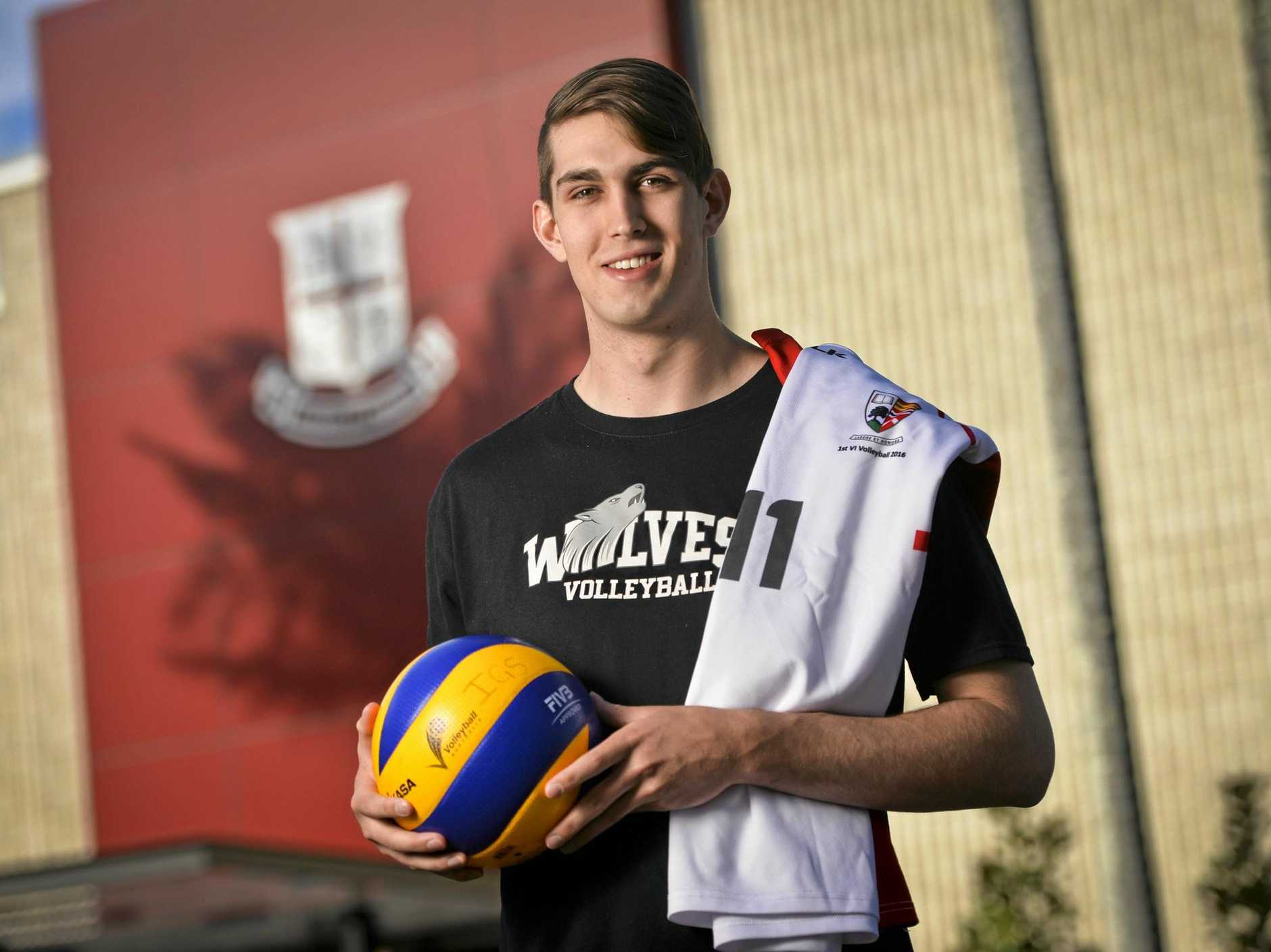 BACK HOME: Tom Wheeler still carries the colours of Ipswich Grammar School with him, even though he now plays for the Grande Prairie Wolves in the Canadian college system.