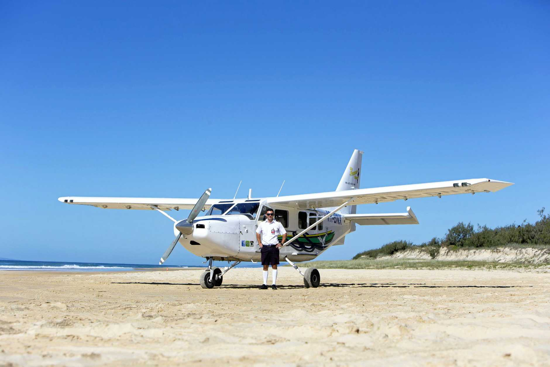 Flights take off from 75-Mile Beach on Fraser Island.