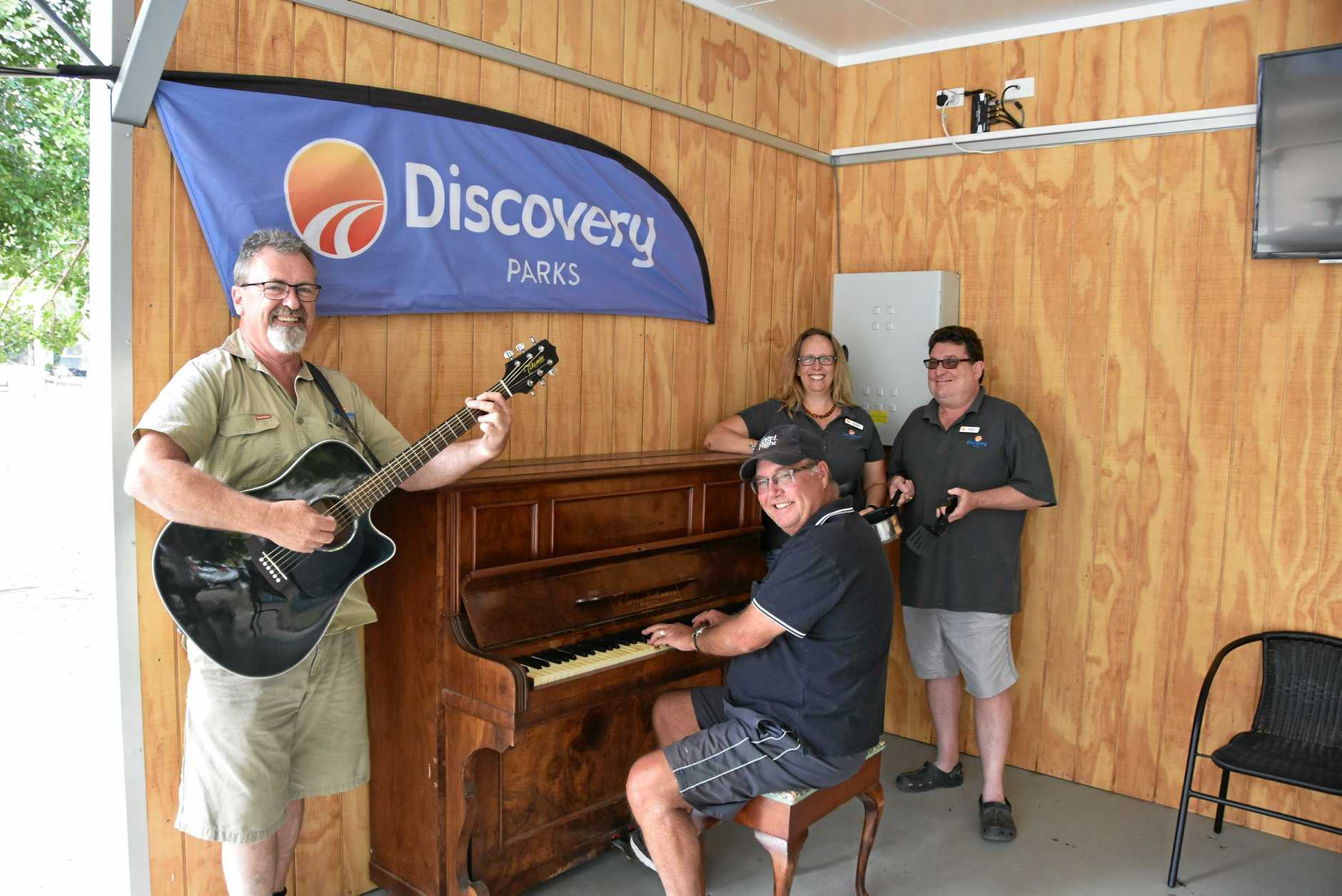 Park Fun: Discovery Holiday Park staff Jim Jones, Geoff Batchelor, Bobbi McPaul and Andy Forsyth were fine tuning their musical and culinary talents for the mid week entertainment.