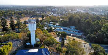 A bird's eye view of the Eastern Heights water tower with Ipswich in the background.