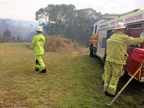 Multiple crews are battling to contain a bushfire at East Deep Creek.