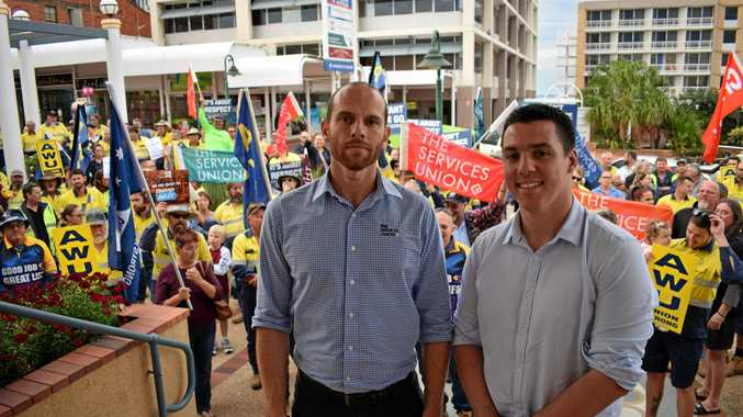 Australian Services Union Central Queensland organiser Chris McJannett and Australian Workers' Union Gladstone organiser Zac Beers.