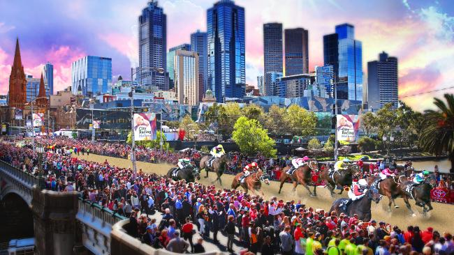 A radical plan for a horse racing event would see thoroughbreds sprint along Melbourne city streets. Digitally altered image.