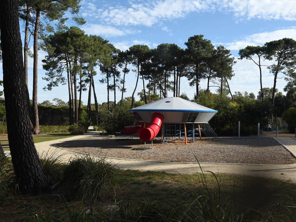 A flying saucer themed children's park was later established at The Grange near the site of the mass sighting. Picture: Chris Eastman