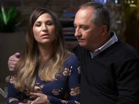 Barnaby Joyce with his partner and ex-staffer Vikki Campion on Channel 7's Sunday Night. Picture: AAP