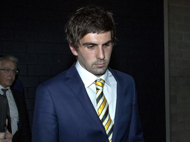 West Coast Eagles midfielder Andrew Gaff departs the AFL tribunal.