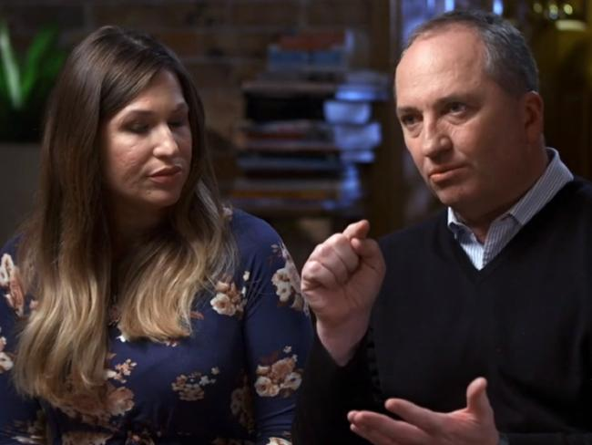 Barnaby Joyce and partner, Vikki Campion. Picture: Channel 7