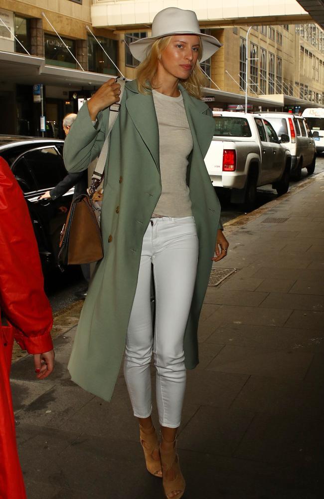 Karolina Kurkova arriving at David Jones Market Street store.