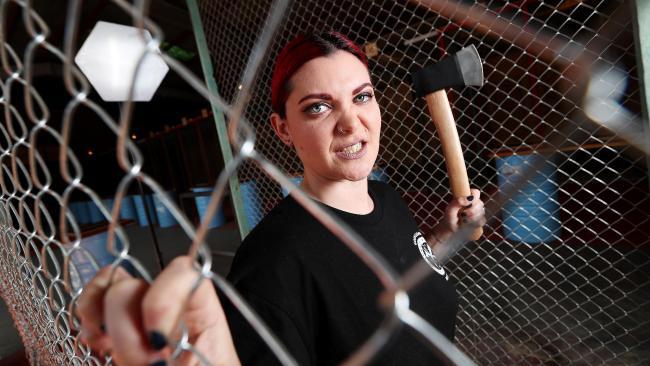 Jess Layne at Lumber Punks axe-throwing in West End. Picture: Tara Croser