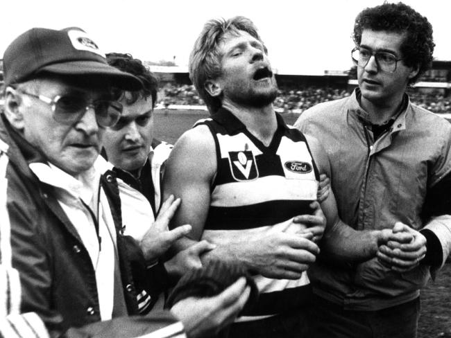 Neville Bruns also suffered a broken jaw after an on-field hit in 1985. Picture: Mike Dugdale