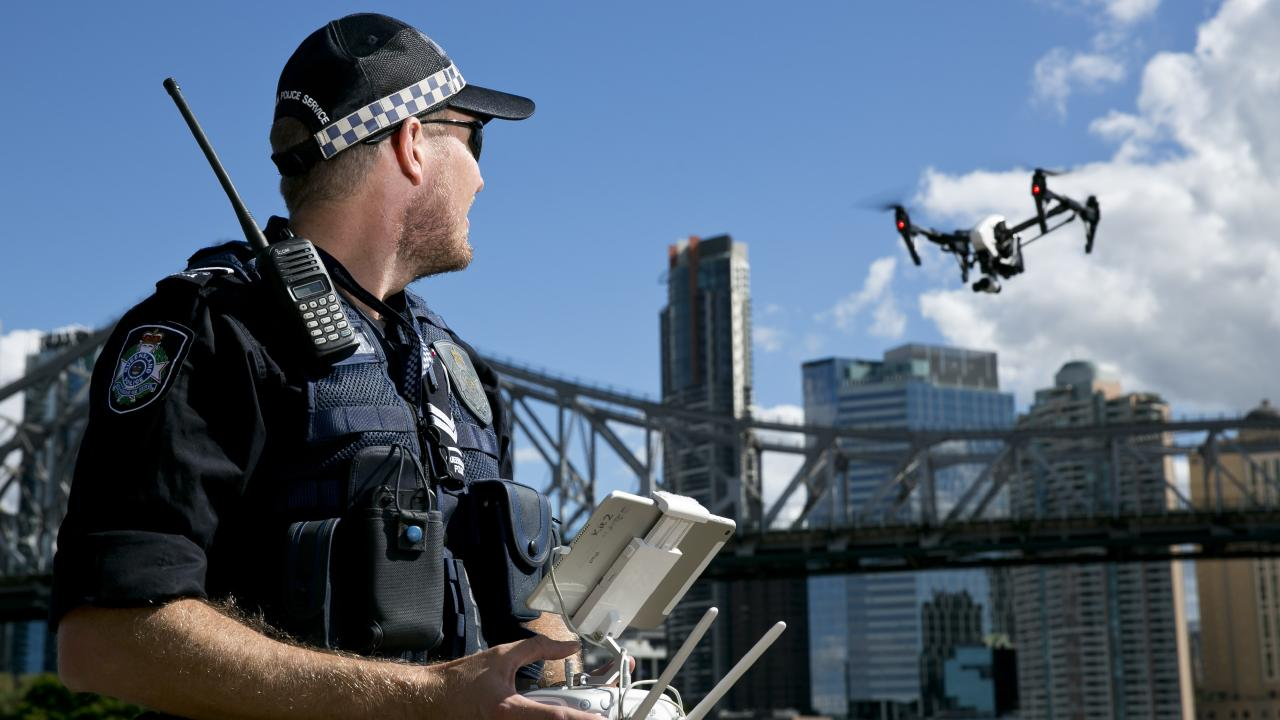 Queensland police will showcase their drone-flying schools at the World Drone Congress in Brisbane on Friday, August 10. Picture: Queensland Police Service