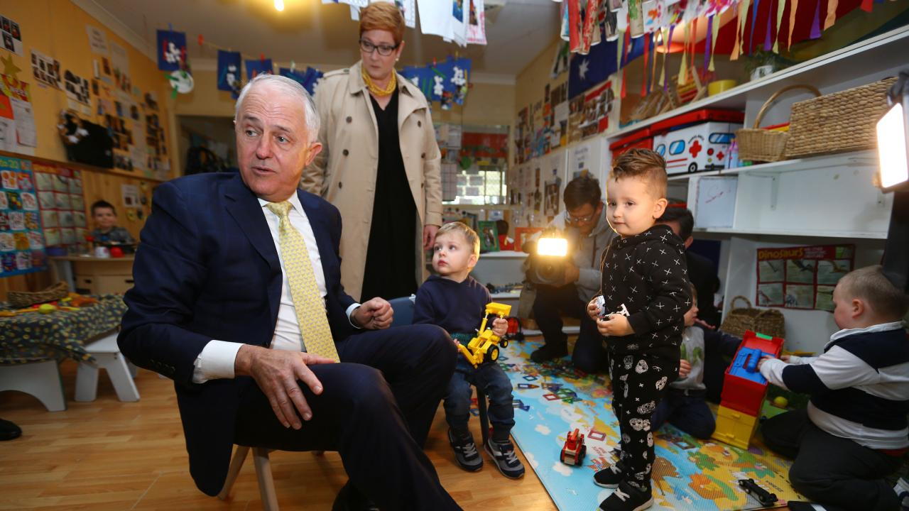 Prime Minister Malcolm Turnbull visits Mud Puddles Cottage Child Care Centre in Emu Plains in Sydney's West. Picture: Britta Campion/The Australian
