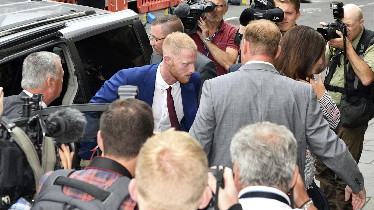 A huge media contingent greets the arrival of Ben Stokes. Picture: PA