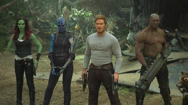 Guardians Of The Galaxy Vol. 2.: Gamora (Zoe Saldana), Nebula (Karen Gillan), Star-Lord/Peter Quill (Chris Pratt), Drax (Dave Bautista). Picture: Marvel Studios