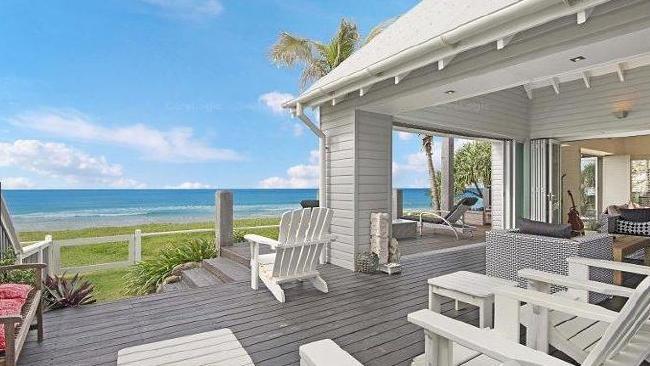 The beachside deck.
