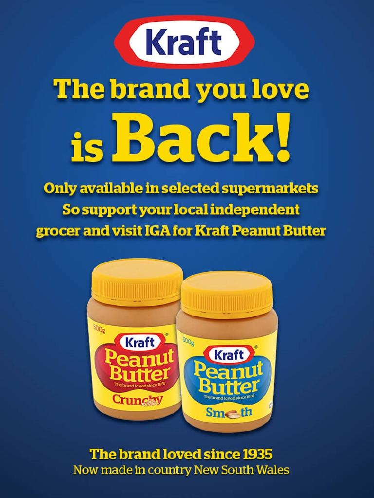 Kraft peanut butter is back in Australia, but rival Bega says it's not the real thing.