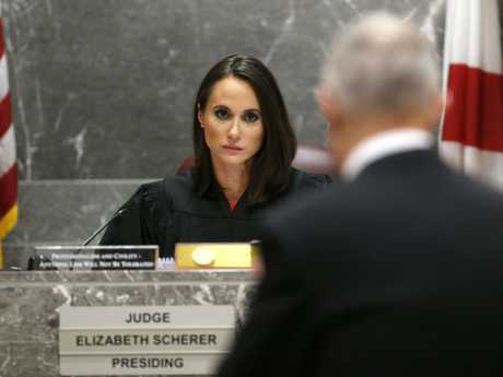 Judge Elizabeth Scherer, rear, listens to chief assistant state lawyer Jeff Marcus during the hearing for school shooting suspect Nikolas Cruz. Picture: AP