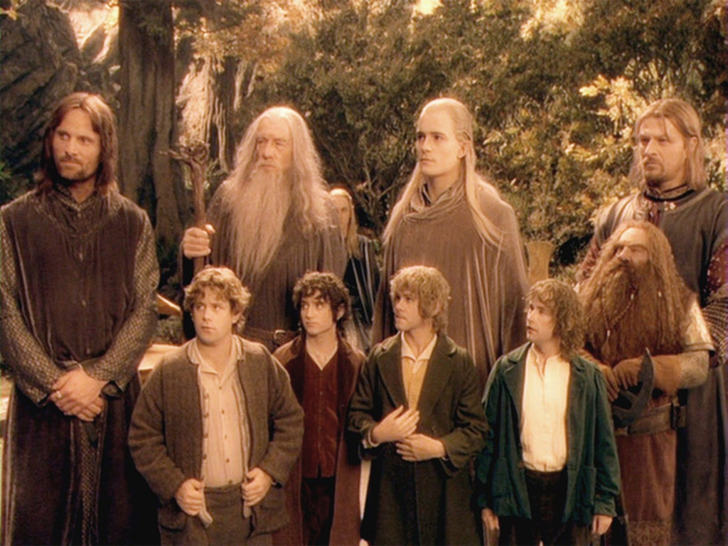 FOR REVIEW AND PREVIEW PURPOSES ONLY. From left, Viggo Mortensen, Ian McKellen, Orlando Bloom, Sean Bean, John Rhys-Davies and (front row) Sean Astin, Elijah Wood, Dominic Monaghan and Billy Boyd in a scene from the movie The Lord of the Rings: The Fellowship of the Ring.