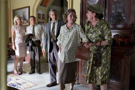 Marta Dusseldorp, Frankie J Holden, Craig Hall, Clodagh Crowe and Deborah Kennedy in a scene from season six of A Place To Call Home.
