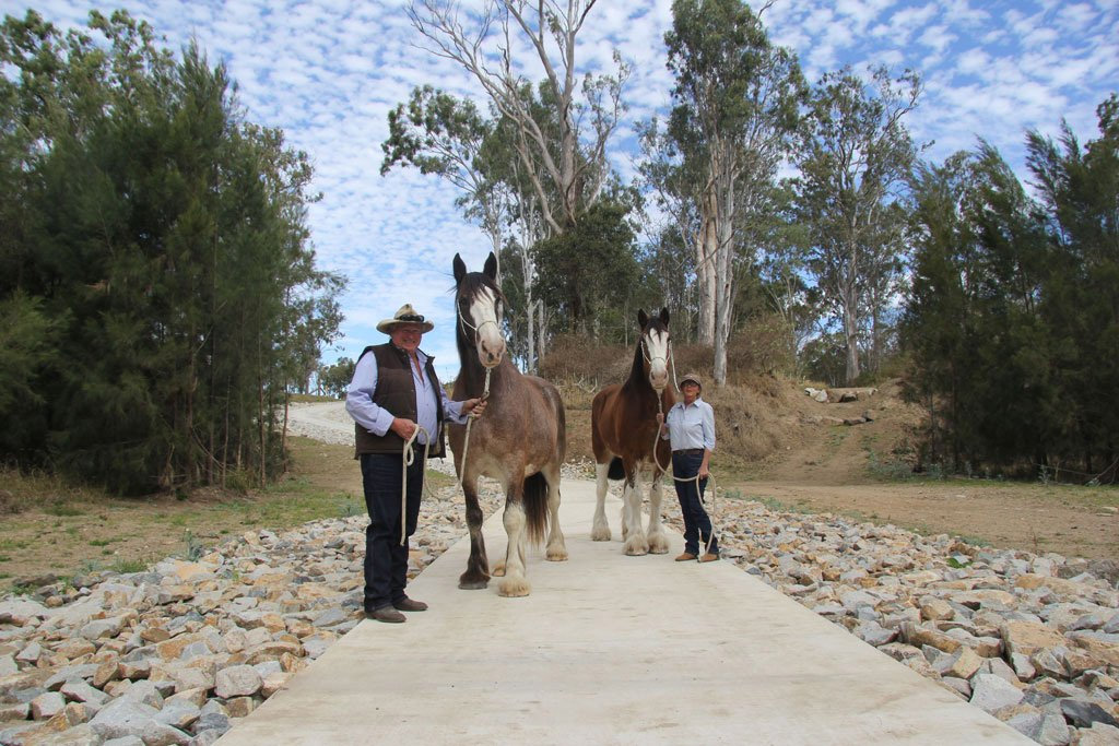 Craig Eastment and Sue Hudd recently established their tourism business, Heartland Heavy Horses along the Brisbane Valley Rail Trail.