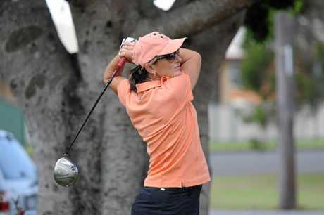 Jill Milburn supports a previous Zonta Says No charity golf day at Maryborough Golf Club.