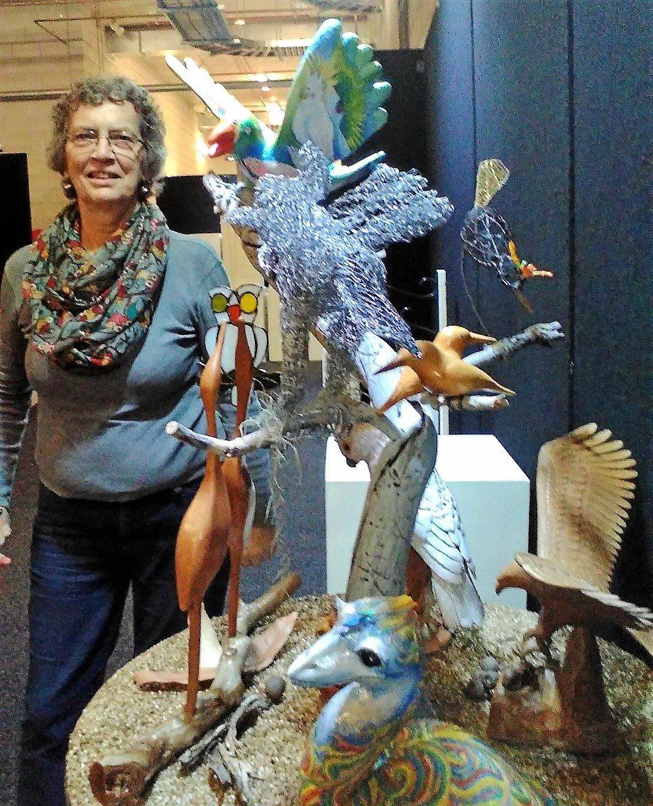 BIRD LIFE: Maryborough artist Ann Bowden with Eclectic Aviary which will be on show at the Ekka.