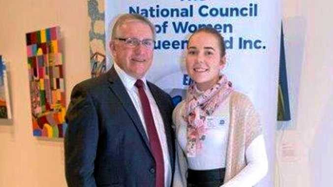 BIG DREAMS: Marnie Leahy from Miles, who  studies education externally, was awarded the David Littleproud bursary. She is with South Burnett Mayor Keith Campbell.